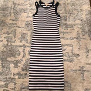 Michael Kors Navy/White striped body con dress